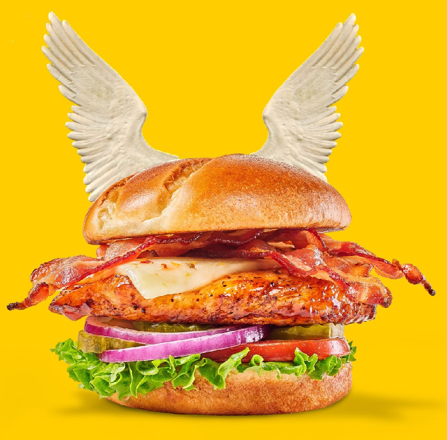 4k Animated HTML5 graphics of a winged burger