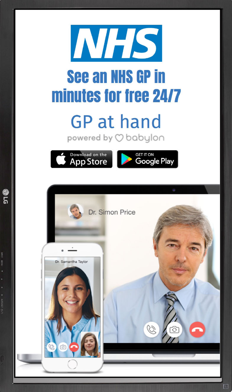 NHS GP at hand white slide HTML5 Graphics