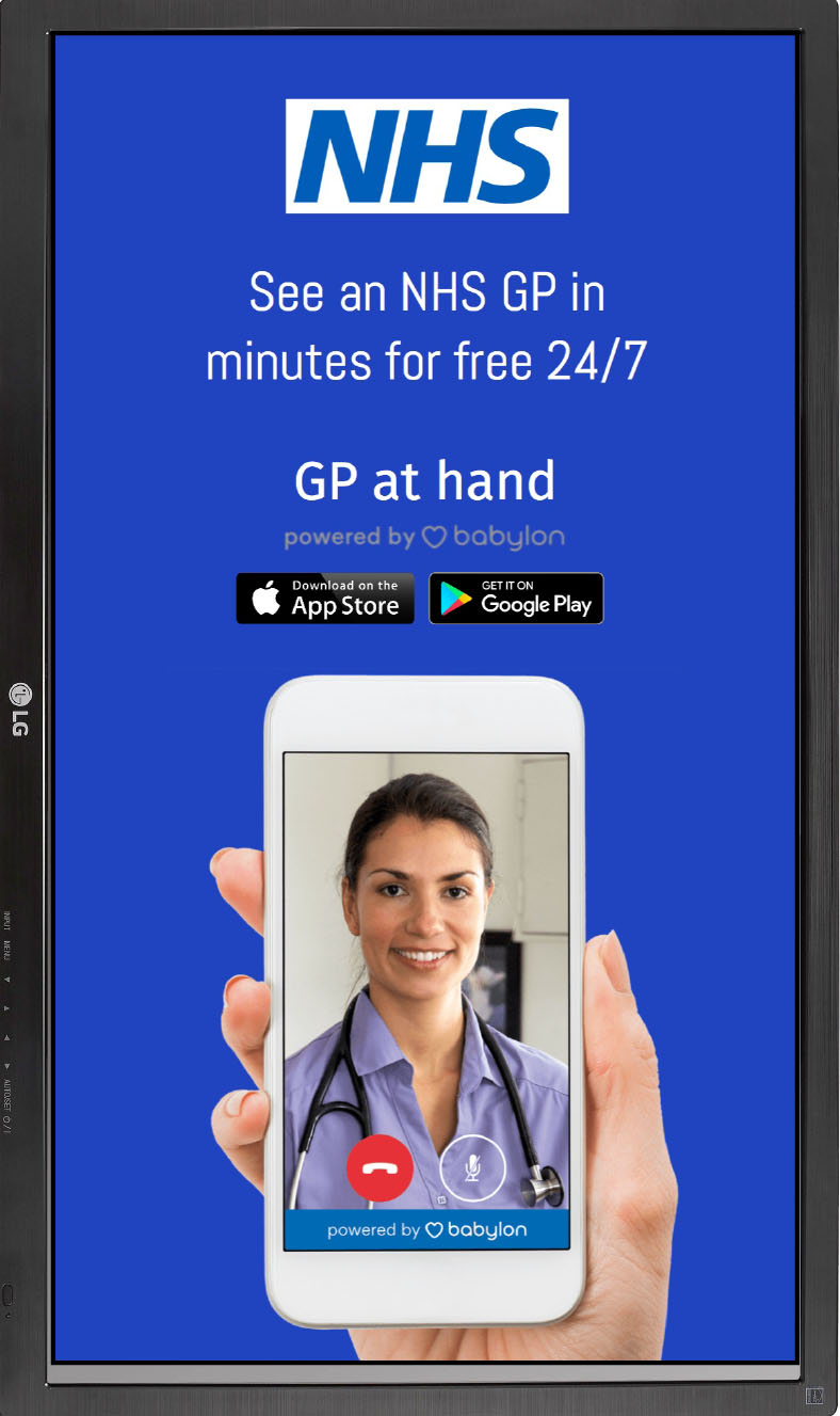 NHS GP at hand blue slide HTML5 Graphics